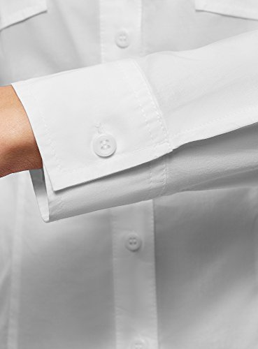 Blanc avec Ajuste Femme Poitrine de 1000n Poches Chemise oodji Ultra wq4gff