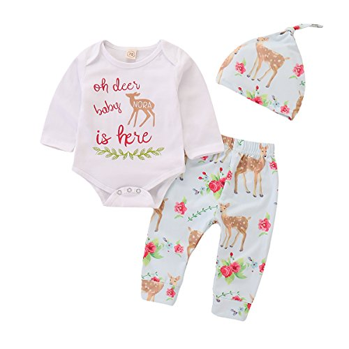 Newborn Outfits Clothes Baby Boys Girls Deer Print Bodysuit Pants with Hat 3PCS Set (3-6 Months, White)