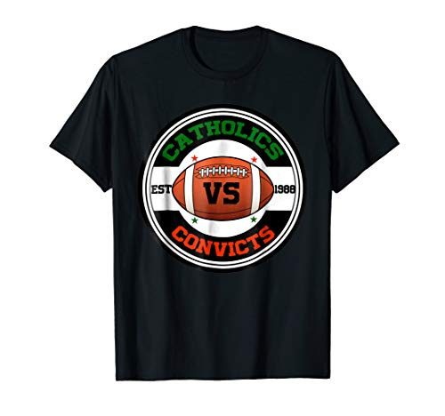 Catholics Vs Convicts Rounded 1988 Old School T-Shirt Black Old School Football T-shirt