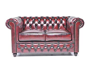 Original Chesterfield Sofa - 2 Seater - Full Real Hand Washed Leather - Antique Red