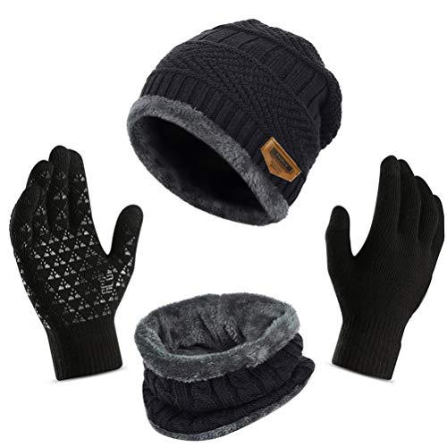 WINTERCODE Winter Beanie Hat Scarf Gloves for Women Thick Knit Hats Skull Caps Touch Screen