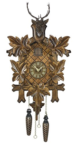 Trenkle Quartz Cuckoo Clock 5 Leaves, Head of a Deer TU 355 Q