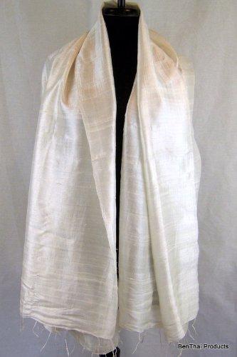 Bombe d'air comprimé 100%  Pure soie thaïlandais'Écharpe/foulard 27 cm x 64 cm-Fait à la main-commerce équitable H8 Grand cadeau Blanc