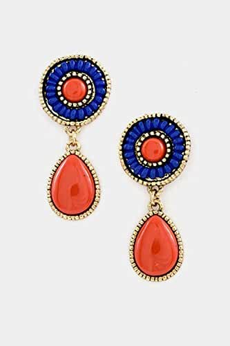 Trendy Fashion Jewelry Round Beads with Tear Drop Stone Dangle Earring By Fashion Destination