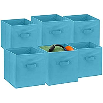 foldable cube storage bins 6 pack these decorative fabric storage cubes are. Black Bedroom Furniture Sets. Home Design Ideas