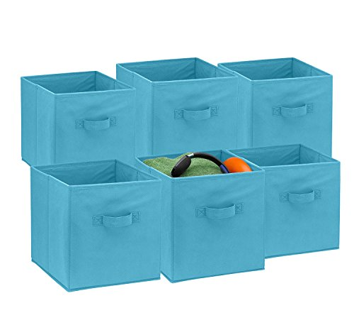 [Foldable Cube Storage Bins - 6 Pack - These Decorative Fabric Storage Cubes are Collapsible and Great Organizer for Shelf, Closet or Underbed. Convenient for Clothes or Kids Toy Storage (Light Blue)] (Great Organizer)