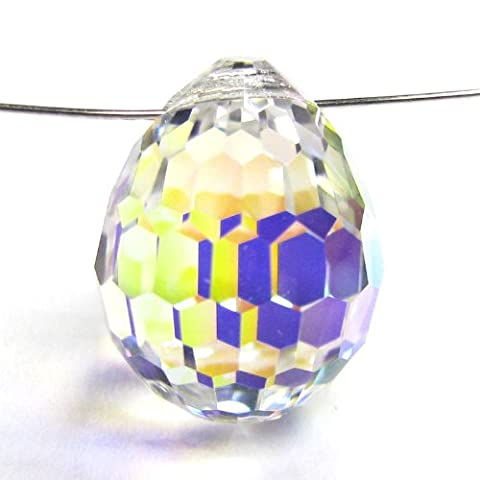 1 pc Swarovski Elements Crystal 6002 Disco Drop Clear AB Charm Pendant Bead 15mm / Findings / Crystallized - Ab Swarovski Crystal Drop Bead