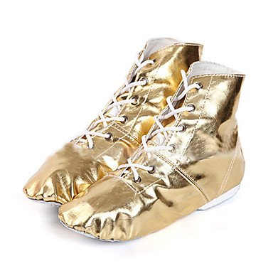 XIAMUO Nicht anpassbar - Die Frauen tanzen Schuhe Kunstleder Kunstleder Jazz/Tanz Stiefel/, Golden, US8/EU24/UK7 Toddle