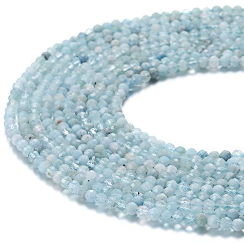 ShopForAllYou Design Making Aquamarine Faceted Round Gemstone Loose Beads Size 3mm 15.5
