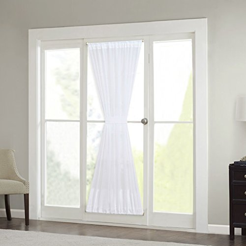 or Curtain - RYB HOME Window Treatment Drpae French Door Sheer Curtain Panel Tieback Included, Width 60 in by Length 72 in ( 1 Pcs, White ) (Side Light Window Panel)