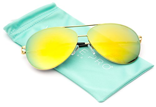 WearMe Pro - Oversized Premium Full Mirrored Aviator Sunglasses w/ Flash Mirror - Aviators Yellow Mirrored