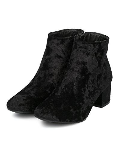 Alrisco Dames Metallic Chunky Heel Bootie - Lage Blokhak Enkellaars - Chic Casual Veelzijdige Alledaagse Trendy Enkellaars - Hd26 By Qupid Collection Zwart Fluweel