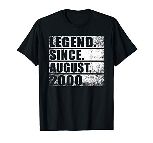 Legend Since August 2000 Tee 19th Birthday Gift 19 Yrs Old