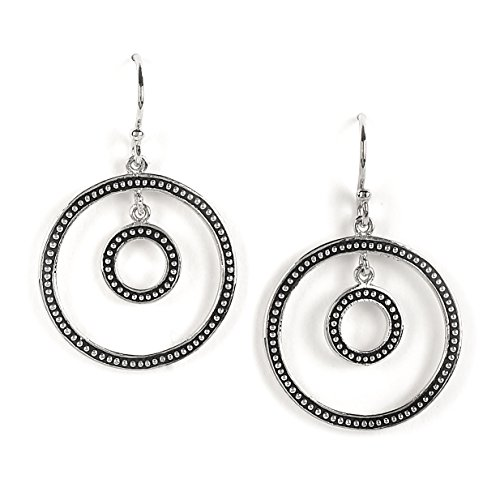 Coyote Circle Earrings - Jody Coyote Earrings Geo Deco Collection E864 silver circle