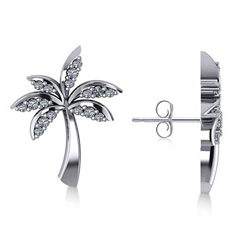 Allurez Diamond Palm Tree Summer Island Earrings in 14k White Gold (0.20ct) by Allurez