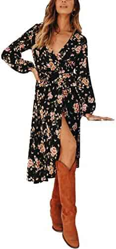Vgvgh Womens Print Floral Deep V Neck Swing Pleated Party Maxi Dress