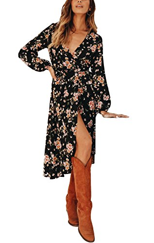 Blooming Jelly Womens Flora Wrap Midi Dress Long Sleeve V Neck Asymmetrical Slit Belted Casual Fall (Free Spirit Check Dress)