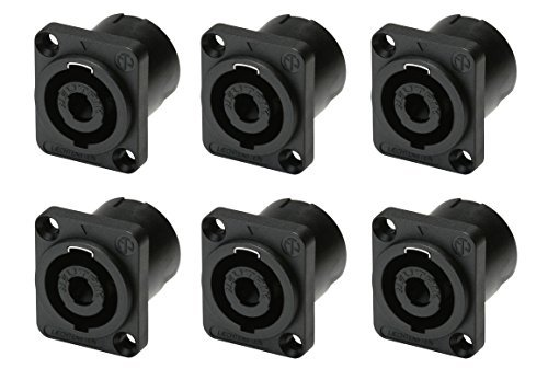 - (6 Pack) Neutrik NL4MP 4-Pole Locking Speaker Speakon 4 Pin Panel Mount