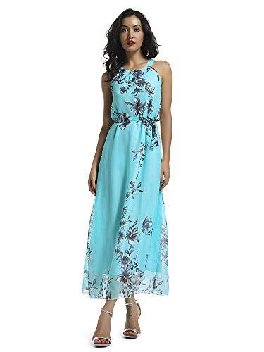 Women's Sleeveless Halter Neck Vintage Floral Print Maxi Dress Lake Blue XL