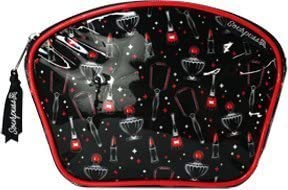 Black Vintage Beauty with Lipstick, Nail Polish, Perfume, and Mirror Pattern Makeup Case from Sourpuss Clothing