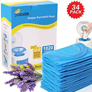Diaper Pail Refill Bags 1020 Counts 34 Bags Fully Compatible with Arm&Hammer Disposal System Diaper Pail Snap, Seal and Toss Refill Bags by JOKDEER