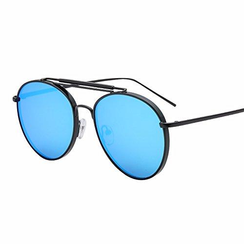 sol lentes redonda azul de color cara XIAOGEGE de gafas frío negro sol plana gafas de El Reflectante Av1qHwz