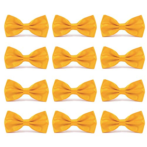 AVANTMEN Men's Bowties Formal Satin Solid - 12 Pack Bow Ties Pre-tied Adjustable Ties for Men Many Colors Option]()