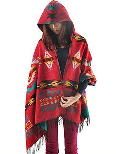 Shineflow Womens Cardigan Batwing Hooded Casual Stylish Loose Coat Cape