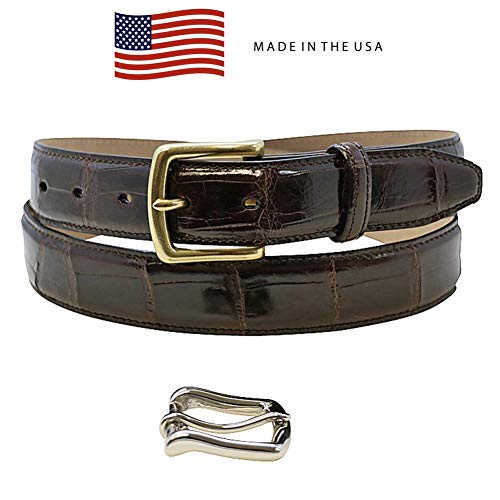 Size 44 Brown Genuine Alligator Belt - American Factory Direct - Gold & Silver Buckle Included - 1 ¼ inch Wide - Made in USA by Real Leather Creations Tail FBA1243