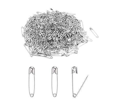 LASSUM 500 Pcs Silver Safety Pins,19mm Metal Clothing Accessories Trimming Fastening Safety Pins