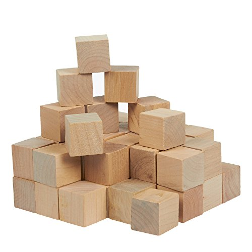 From usa small wooden craft cubes unfinished natural for Wooden blocks craft supplies