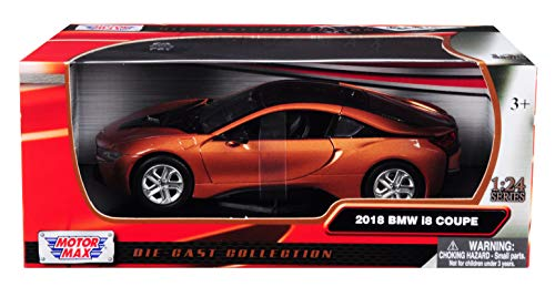 2018 BMW i8 Coupe Metallic Orange with Black Top 1/24 Diecast Model Car by Motormax 79359