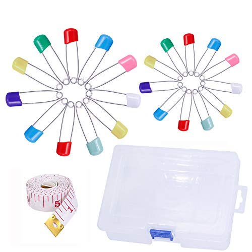 100 Pieces Safety Pins Baby Diaper Pins Pack with Safety Buckle and Soft Tape Measure Assorted Size Assorted Colors for Locking Cloth Diaper Bib Embroidery Crafts