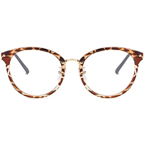 SOJOS Retro Round Blue Light Blocking Glasses TR90 Computer Eyeglasses Ashley SJ9001 with Leopard Print Frame/Anti-Blue Light Lens (Blue Light Gläser)