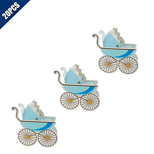 (KOOBOOK 20Pcs Pram Trolley Shape Candy Boxes Wedding Favor Baby Shower Party Gift Carriage Gift Box(Self Assembly)-Blue)