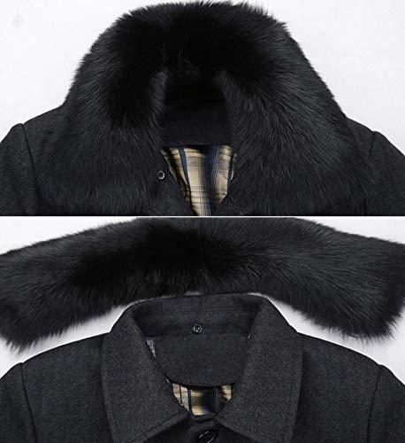 Invernale Lana Da Giacca L Gray Dimensioni Blu Pelliccia colore Caldo Staccabile Cappotto Collo Con Uomo Imbottito Ljxwh In Trench qwHwx