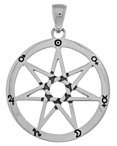 (Jewelry Trends Sterling Silver Seven Point Fairy Star Heptagram Pendant)
