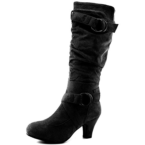 - Dailyshoes Women's Slouchy Mid Calf Strappy Boots with Ankle and Top Straps - 2