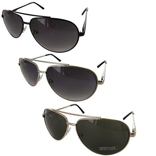 08f08b0492 Kenneth Cole Reaction Mens Half Rimless Aviator Sunglasses