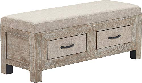 Truly Home FUCN10053A Cottage Storage Bench, Gray