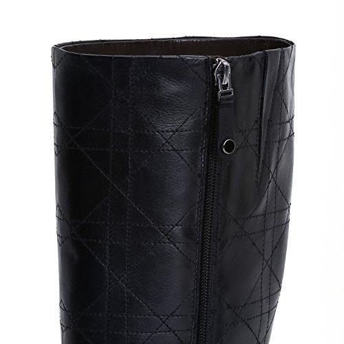 ALESYA by Scarpe&Scarpe - Botas con caña pespunteada, de Piel, con Tacones 5 cm Negro