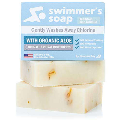 Swimmers Soap by Newton Bay - All Natural Aloe Bar Soap to Gently Wash Away Chlorine After Swimming (2-Pack of 4 Ounce Soap Bars)