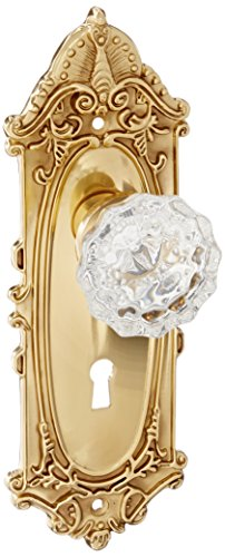 Nostalgic Warehouse Victorian Plate with Keyhole Crystal Glass Knob, Single Dummy, Polished ()