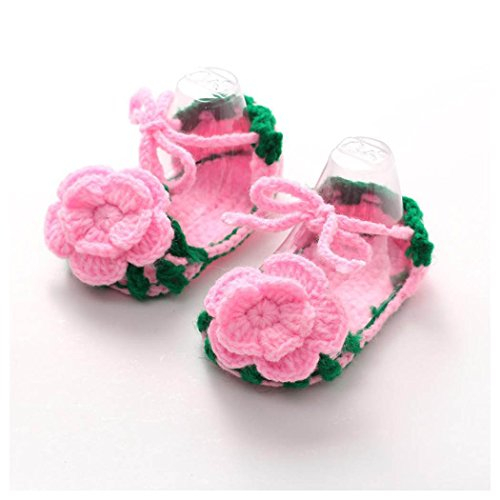 Crib Shoes,Vanvler Handmade Crochet Casual Baby Girls Knit Sock Flower Infant Comfortable Handicraft (Roses)