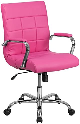 Flash Furniture Mid-Back Pink Vinyl Executive Swivel Office Chair with Chrome Base and Arms –
