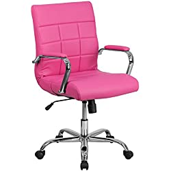 Flash Furniture Mid-Back Pink Vinyl Executive Swivel Chair with Chrome Base and Arms