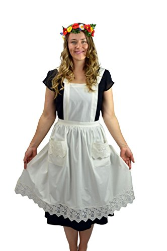 Kitchen Costume Victorian Maid (Deluxe Lace Victorian Maid Costume Ladies Full Apron Ecru (Off-white/beige) with Pockets)