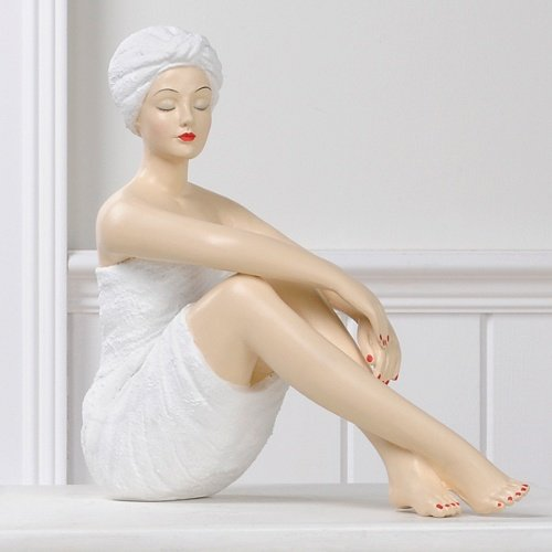 Resin Spa Girl in White Towel and Turban with Knees Up
