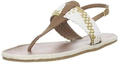 Madison Harding Women's Ash T-Strap Sandal,White,7 M US