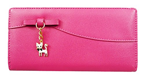 Kukubird Kitty Encanto Largo Partido Bolsa De Embrague Bolsa Monedero Cartera Fuschia